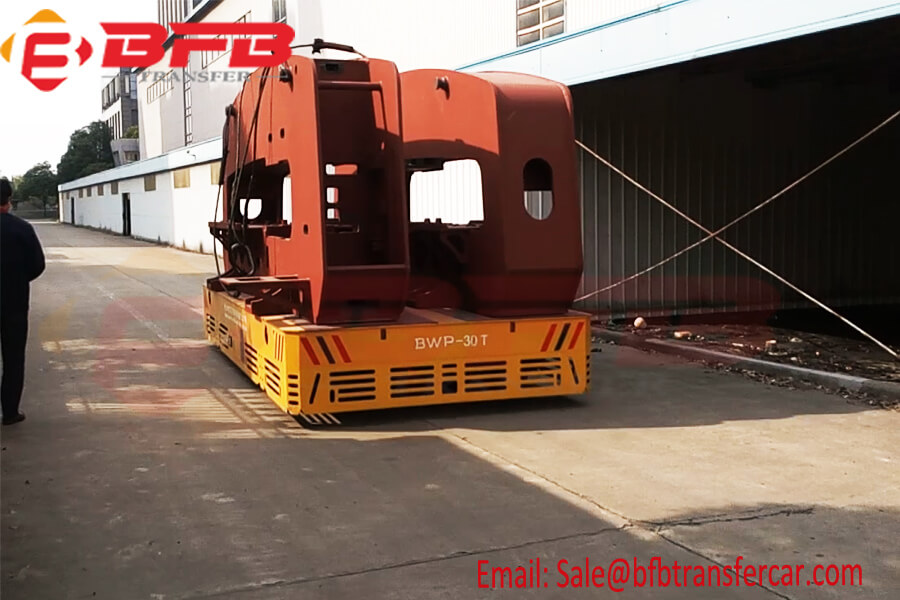 30 Ton Steerable Trackless Transfer Carriage For Steel Structure Transportation On Concrete Floor