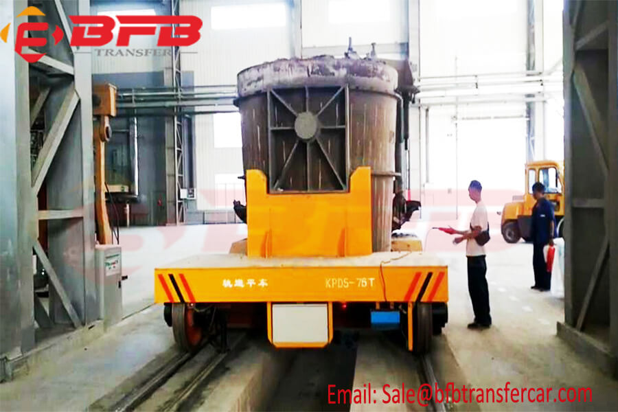 75 Ton Flatbed Steel Ladle Rail Transfer Car For Steel Plant With Insulated Rails And Wheels