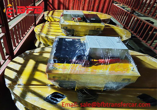 2 Ton Electric Rail Flat Cart With Turntable For Scrap Box Handling Conductor Rail Powered