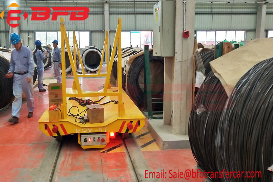 Warehouse 5t Wire Coil Transfer Cart On Steel Rail Road Powered By Battery
