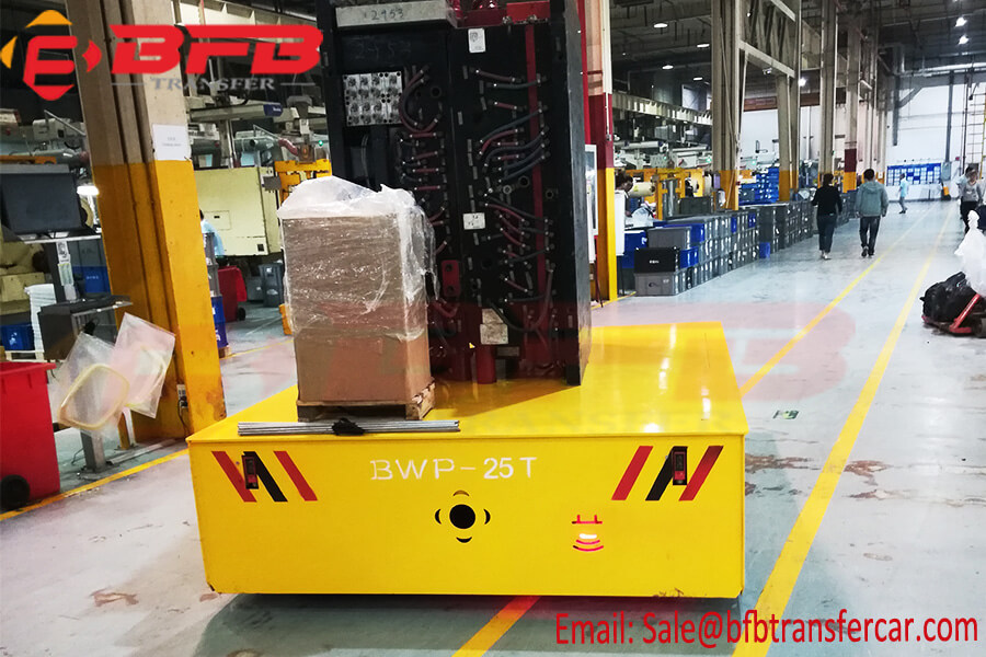 25T Load Electric Trackless Transfer Trolley Cart For Indoor Heavy Machinery Handling