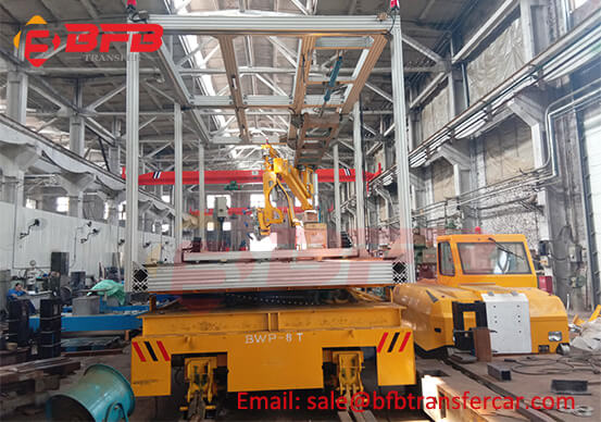8T Factory Battery Operated Motorized Trolley Transfer Cart With Hydraulic Scissor Lift Platform