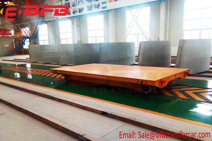 Battery Power Rail Motorised Flat Bed Transport Wagon System For 10T Steel Ingot Handling