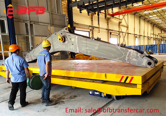 10T Electric Rail Transfer Car With Lifting Table For Crane Parts Handling Cable Drum Powered