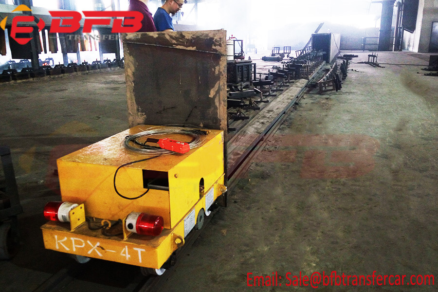 4 Ton Electrical Battery Platform Cart Mounted On Railroad For Indoor Workpiece Transfer