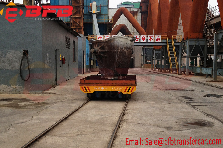 Heavy Load Battery Powered 20 Tons Ladle Trolley Mounted On Rail Road