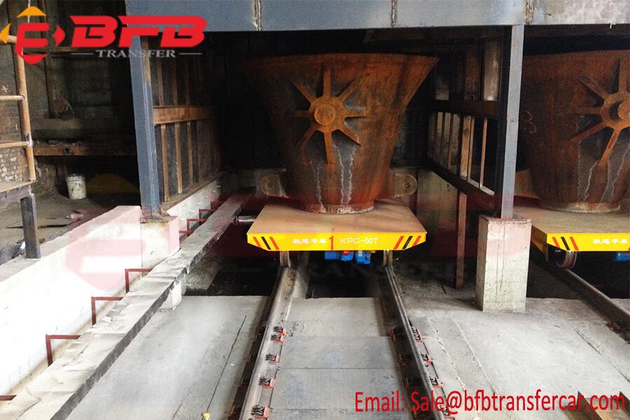 50T Customized ManufactureTilt Table Ladle Car for Molten Copper Ladle Powered Sliding Line