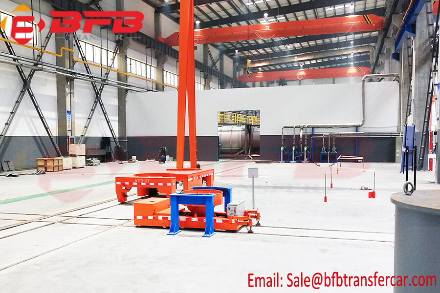Customized Semicircle Platform Rail Electric Box Transfer Cart With Safe Volt Rail Powered