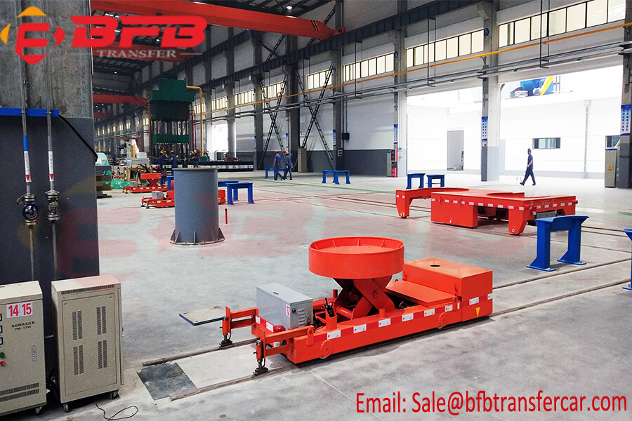 5 ton Hydraulic Scissor Lift Transfer Railroad Industrial Trolley Cart With Round Pallet
