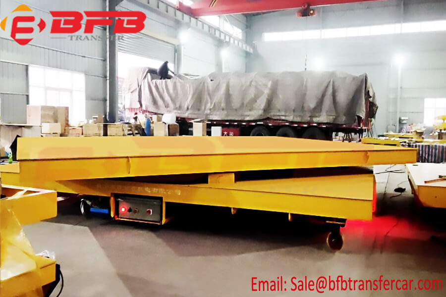 Cable Drum Powered 50 Ton Electric Rail Flatbed Car With Rotating Turntable Exported To Norway