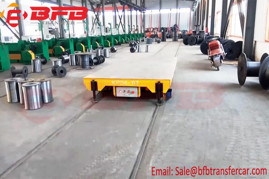 10 Ton Heavy Duty Transfer Cart For Steel Plant Machines Handling Conducting Rail Powered