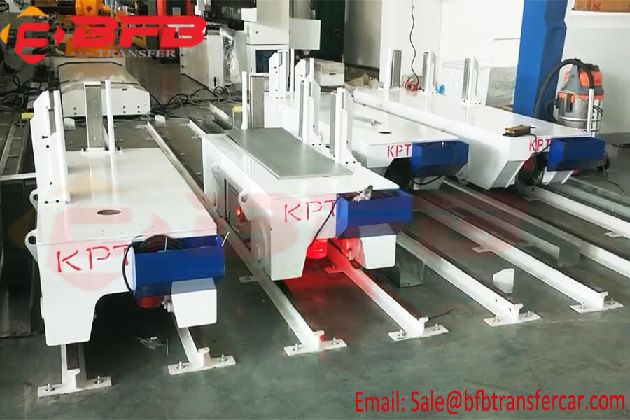 Mobile Cable Powered 3 Ton Motorized Rail Cart With Cable Chain For Assembly line