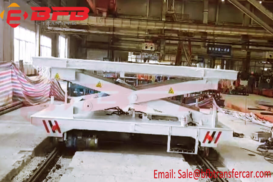 4 Ton Industrial Use Electric Material Transfer Car With Scissor Lifting Table For Foundry Industry
