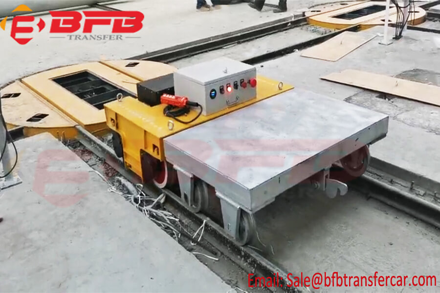 3 Ton Battery Operated Transfer Cart With Turntable Move On Rails For Materials Handling