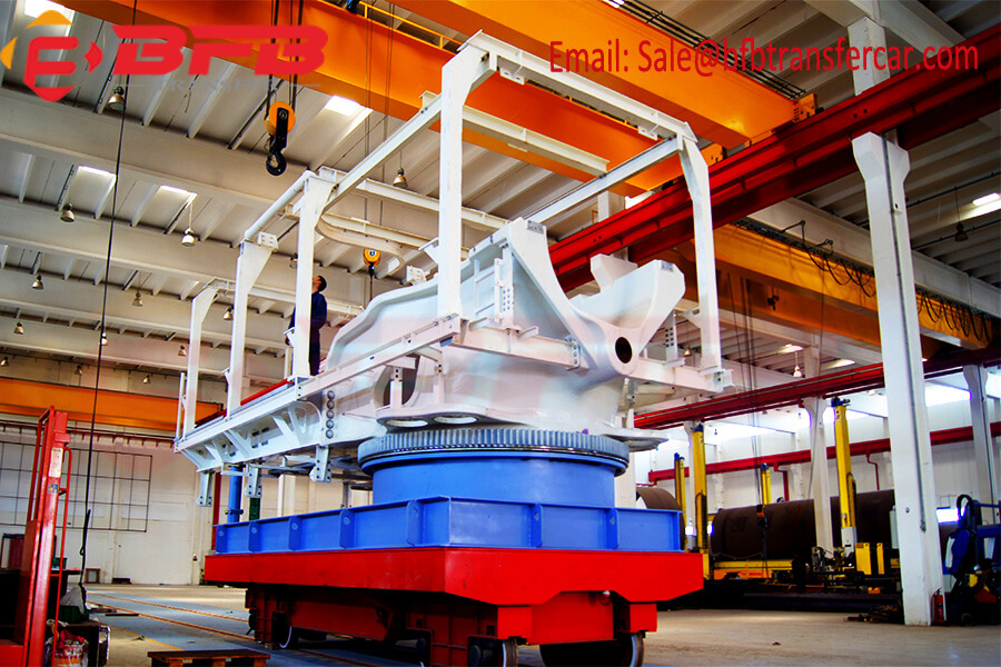 40 Ton Electric Rail Motorized Trolley For Naval Structures Handling