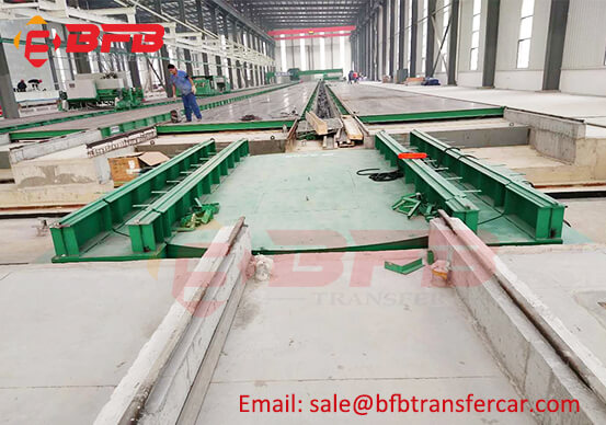 10 Ton Ferry System Motorized Flat Car With Turntable Platform Between PC Production Line