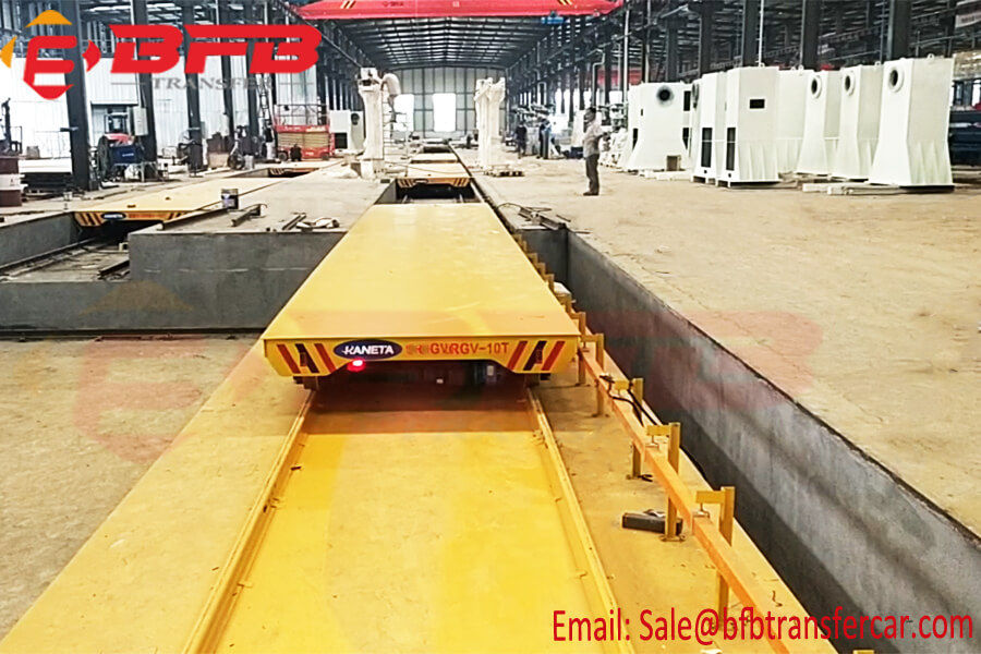 10T RGV Industrial Heavy Duty Platform Transfer Trolley Moved On Rails For Large Storage Tanks