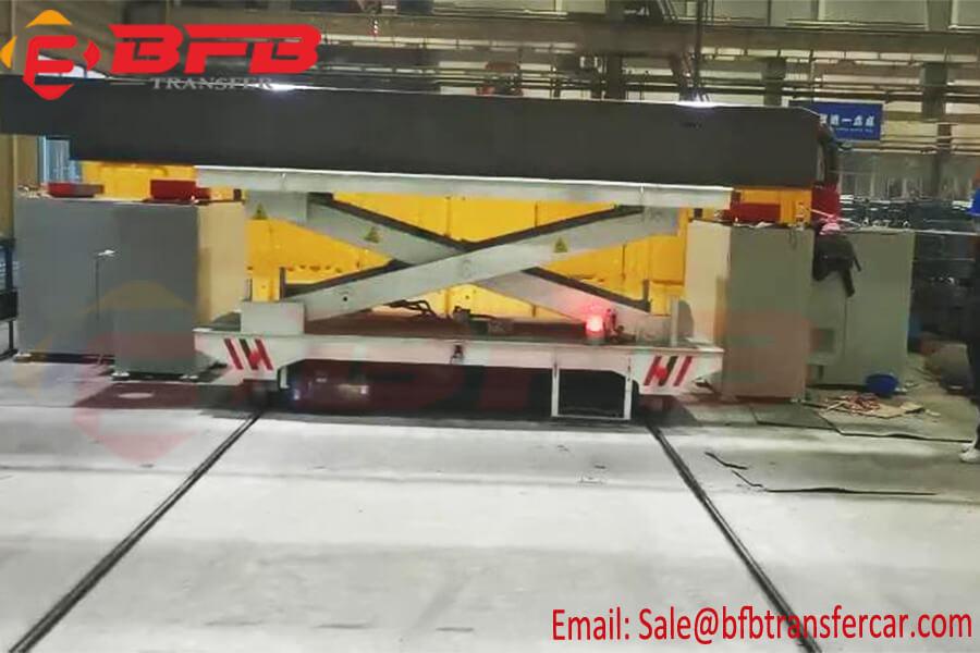 5T Plc Controlled Rail Powered Scissor Lift Transfer Cart For Workshop Steel Beam Handling