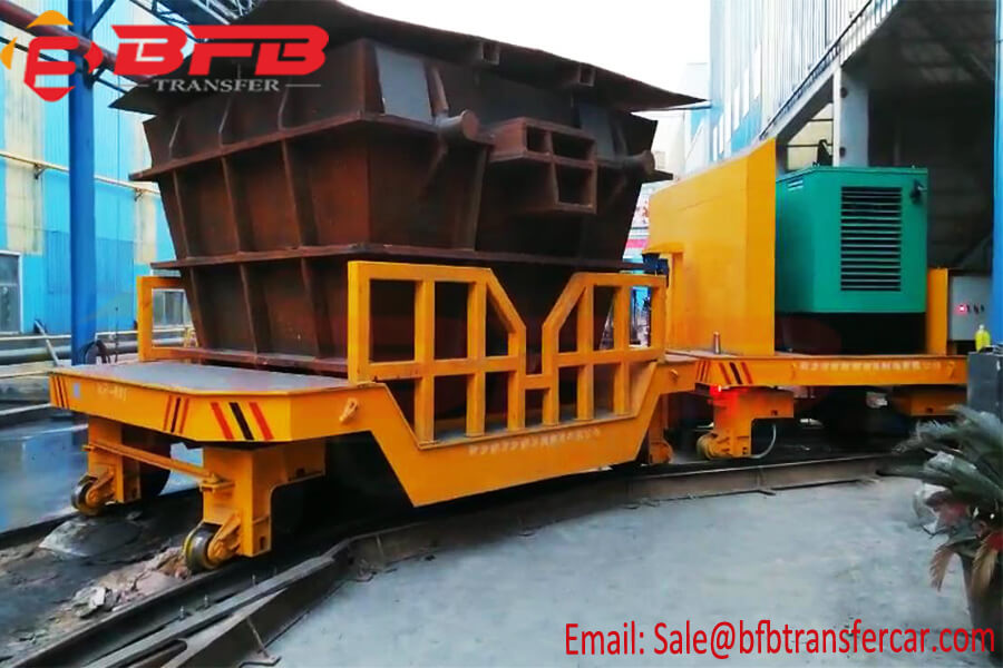 KPF Diesel Driven 60 Ton Ladle Transport Trolley Cart On Curved Rails Indoor Outdoor Transfer