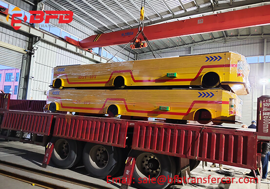 40T Automatic Motorized Industrial Cart Electric RGV For Production Line Exported Cambodia