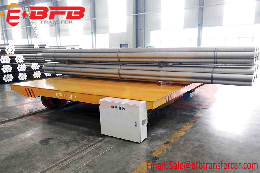 40T Electrically Driven Pipe Transfer Trolley For Transporting Steel Pipes Between Production Line