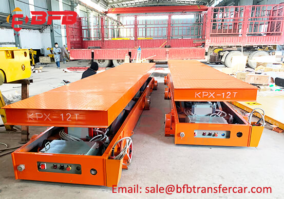 Battery Power Rail Lift Transfer Cart For 12 Ton Structural Member Carrying