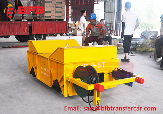 Motorized 5 Ton Steel Coil Transfer Rail Cart Moving Workshop Roll Coil