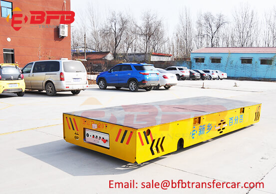 Battery Operated Trackless 20 Ton Load Transfer Trolley Wireless Control Carrying Steel Structure