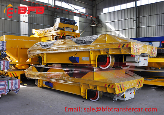 40 Ton Motorized Rail Steel Coil Transport Cart With V Frame Yard Coils Handling