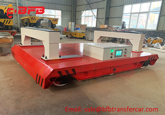 Steel Beam Movement RGV Battery Electric Handling Trolley On Rails Inside Auto Factory
