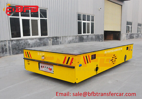 80T Industry Battery Steerable Transfer Car Trolley Inside Tunnel On Concrete Surface