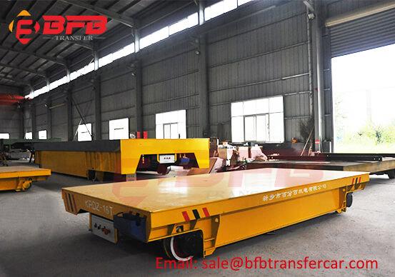 Casting Plant 16T Motorized Electric Flat Rail Cart For Workshop Pump Transfer