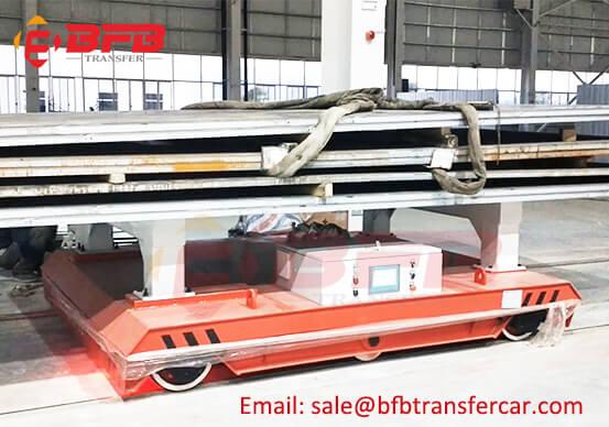 Battery Power 25T Transfer Cart Steel Plate Carrier Moved On Bay Steel Rails