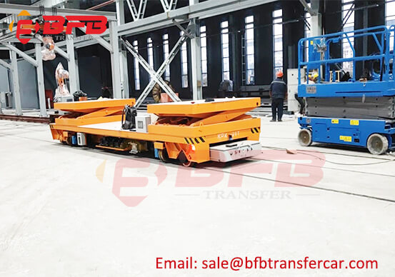 20T Warehouse Rail Guided Vehicle RGV Battery Power Electric Flat Carts With Lifting