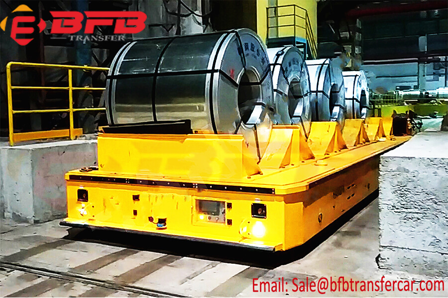Motorized 45 Ton Steel Coil Flat Bed Trailer Coil Trailer For Workshop Transfer