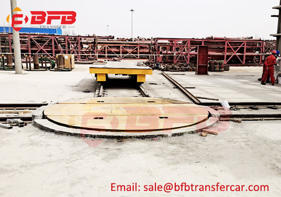 Rail Cart Turntable 40 Tons On Cross Rails For Refrigeration Equipment Transfer