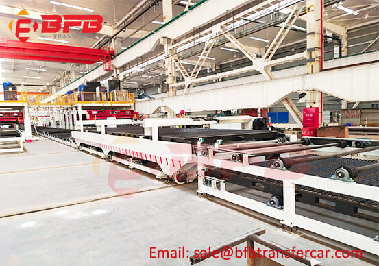 12T Steel Pallet Transfer Cart On Rail With Roller Conveyor