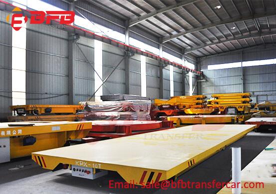 10T Battery Power Rail Wheels Transfer Cart For Steel Plate Transportation