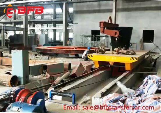 Manual 40 Ton Ladle Transfer Winch Towing Rail Trailer